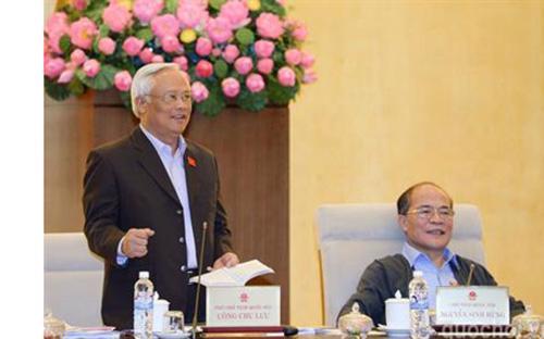 Phó chủ tịch Quốc hội Uông Chu Lưu điều hành phiên thảo luận - Ảnh: Quochoi.vn<br>