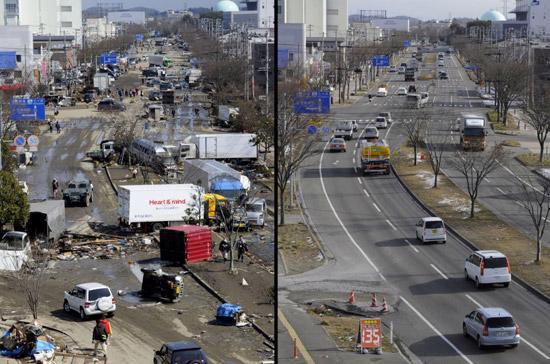 Một hình ảnh so sánh trước và sau khi Nhật Bản hồi sinh từ thảm họa kép tháng 3/2011 - Ảnh: DailyMail.