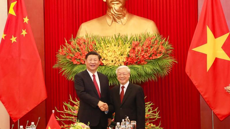Tổng Bí thư Nguyễn Phú Trọng tiếp Tổng Bí thư - Chủ tịch nước Trung Quốc Tập Cận Bình trong chuyến thăm cấp nhà nước tới Việt Nam tháng 11/2017 - Ảnh: VGP