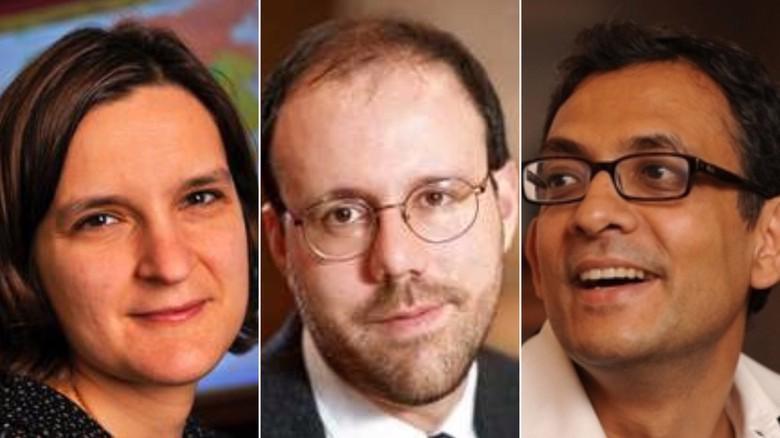 Esther Duflo, Michael Kremer và Abhijit Banerjee giành giải Nobel Kinh tế năm 2019 - Ảnh: CNN.