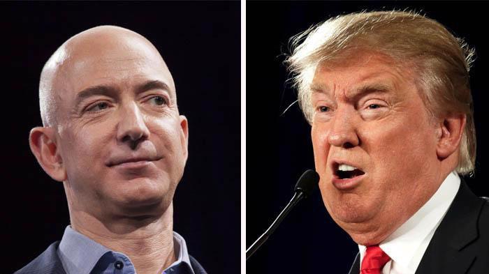 CEO Jeff Bezos của Amazon (trái) và Tổng thống Mỹ Donald Trump.