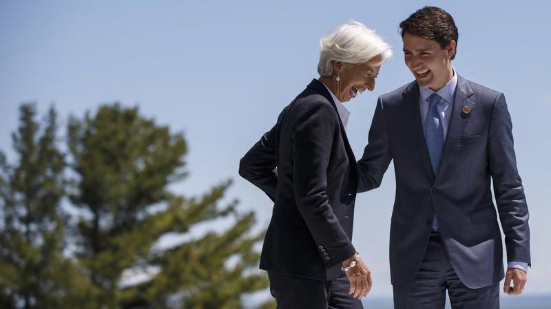 Tổng giám đốc IMF Christine Lagarde (trái) và Thủ tướng Canada Justin Trudeau tại Quebec, Canada hôm 9/6 - Ảnh: Bloomberg.