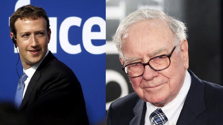 Tỷ phú Mark Zuckerberg (trái) và tỷ phú Warren Buffett.