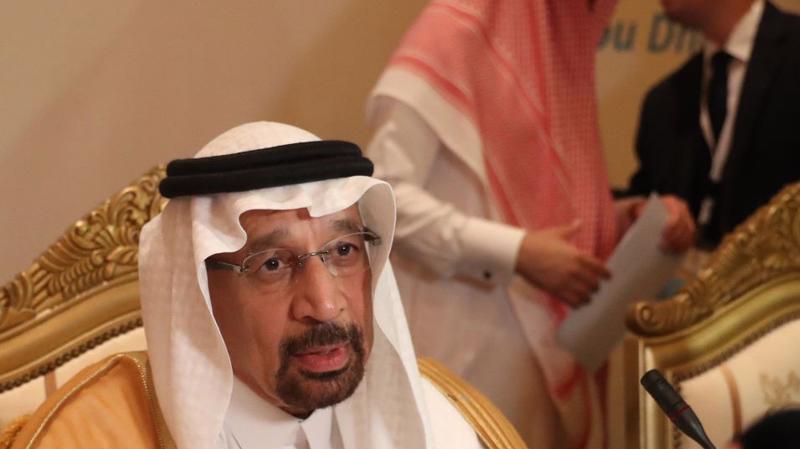 Ông Khalid Al-Falih, Bộ trưởng Bộ Năng lượng Saudi Arabia phát biểu tại cuộc họp một ủy ban OPEC ở Abu Dhabi - Ảnh: Getty/Bloomberg.