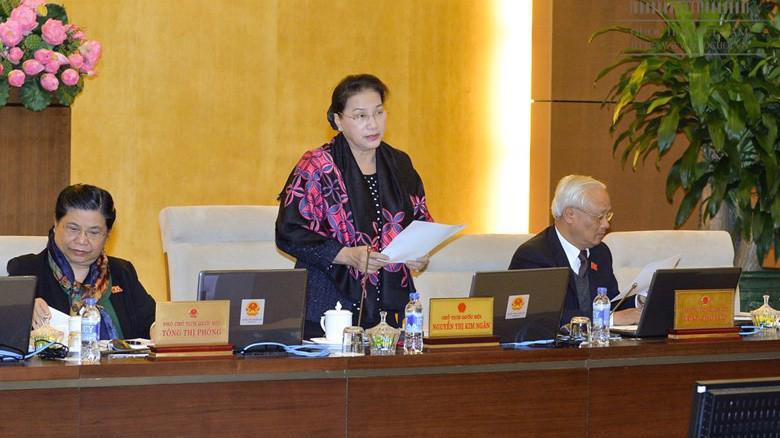 Chủ tịch Quốc hội Nguyễn Thị Kim Ngân phát biểu tại phiên họp của Uỷ ban Thường vụ Quốc hội.