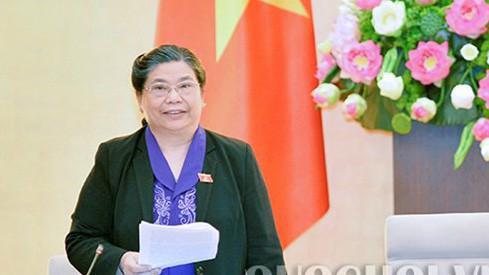 Phó chủ tịch Quốc hội Tòng Thị Phóng phát biểu tại phiên họp.