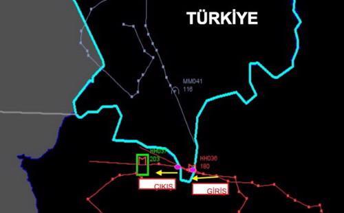 Ảnh radar do Thổ Nhĩ Kỳ cung cấp, nhằm chứng minh máy bay của Nga đã xâm phạm không phận. Theo cơ quan truyền thông nhà nước Thổ Nhĩ Kỳ, Anadolu Agency, chiếc Su-24 của Nga đã cố tình xâm phạm không phận, dù Thổ Nhĩ Kỳ đã phát đi tín hiệu cảnh báo 10 lần trong vòng 5 phút - Ảnh: Bloomberg.<br>