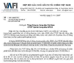 Công văn của VAFI gửi tới Vipco.
