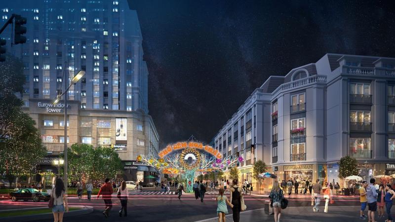 Phố đêm nằm trên đường Hoa Châu sầm uất, ngay trục chính của khu đô thị Eurowindow Garden City.