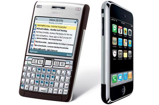Điện thoại E61i của Nokia và iPhone của Apple. Sốt ruột trước thành công của Apple trên thị trường điện thoại thông minh, vào tháng 10/2009, Nokia đã châm ngòi cho cuộc chiến pháp lý căng thẳng hiện nay giữa hai bên.
