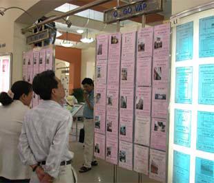 Khách hàng xem thông tin tại một sàn giao dịch bất động sản ở Tp.HCM.