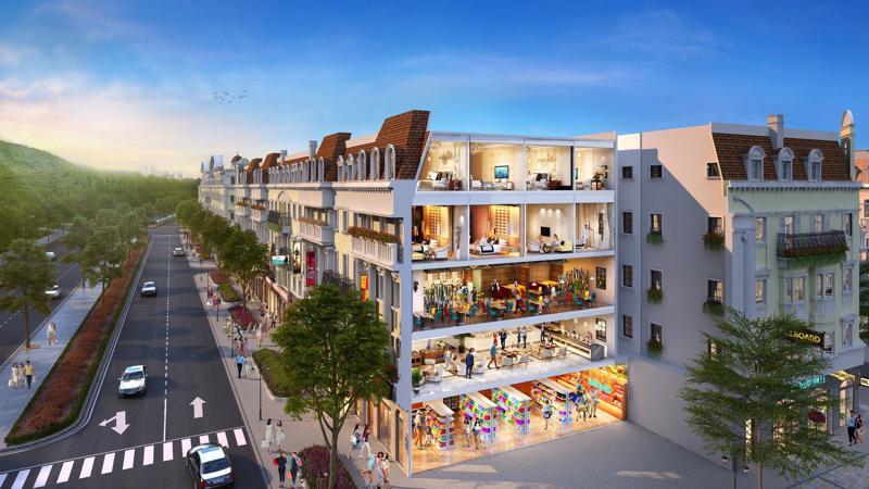 Phân khu Shophouse Europe thuộc tổ hợp nhà phố thương mại kiến trúc 5 châu Sun Plaza Grand World tại Bãi Cháy dự kiến bàn giao từ cuối năm nay.
