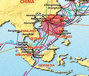 Ảnh mô tả khu vực cáp quang biển bị đứt năm 2006 - khu vực khoanh màu đỏ.
