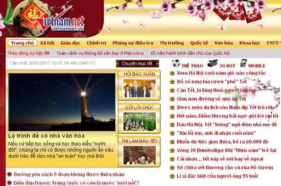 Trang chủ của báo VietNamNet - Ảnh chụp màn hình.
