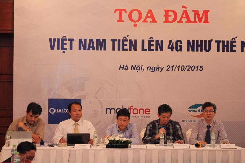 """Buổi tọa đàm """"Việt Nam tiến lên 4G như thế nào?"""" do ICT Press Club tổ chức chiều ngày 21/10/2015.<br>"""