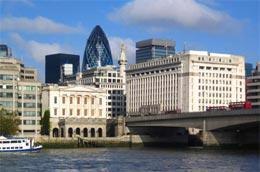 Một góc khu trung tâm tài chính của London.