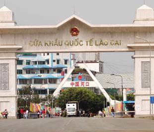 Một góc cửa khẩu quốc tế tại Lào Cai.