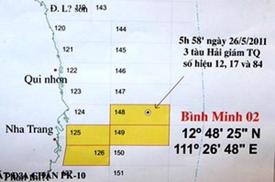Vị trí tàu địa chấn Bình Minh 02 bị ba tàu hải giám Trung Quốc phá hoại - Ảnh: TTXVN.