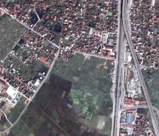 Một phần xã Đông Ngạc nhìn từ trên cao - Ảnh: Google Maps.