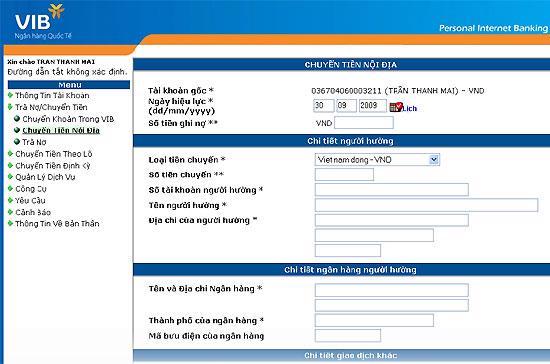 Dịch vụ VIB4U cho phép thanh toán các hóa đơn trả sau, chuyển tiền trong và ngoài hệ thống...