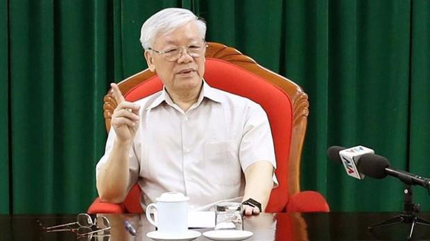 Tổng bí thư, Chủ tịch nước Nguyễn Phú Trọng đã chủ trì họp lãnh đạo chủ chốt ngày 14/5 - Ảnh: TTXVN.