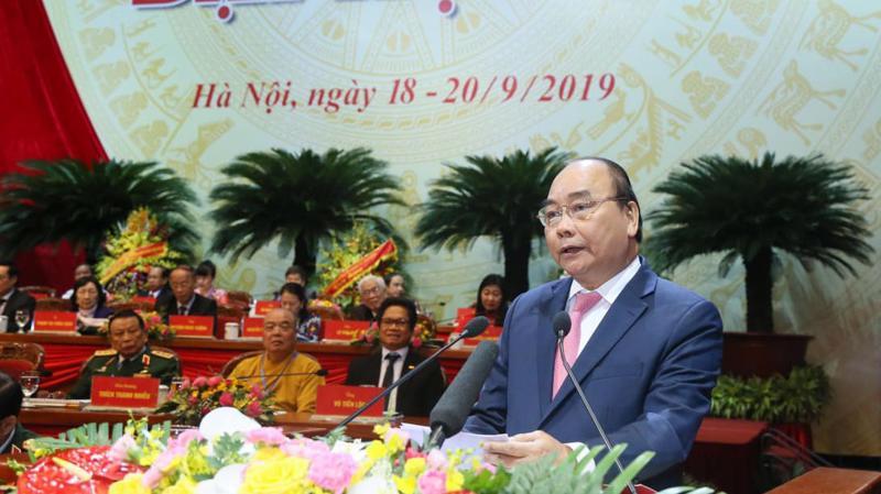 Thủ tướng Chính phủ Nguyễn Xuân Phúc phát biểu chỉ đạo tại đại hội - Ảnh: Quang Phúc.