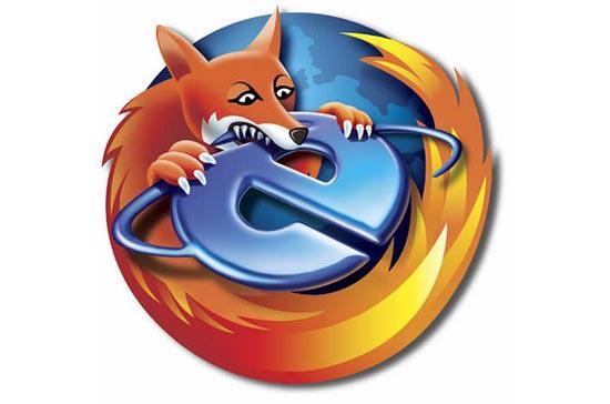 Hình minh họa vui về hai biểu tượng của Firefox và IE. Thị phần của Firefox đang tiếp tục tăng lên, trong khi thị phần của IE không ngừng giảm xuống.