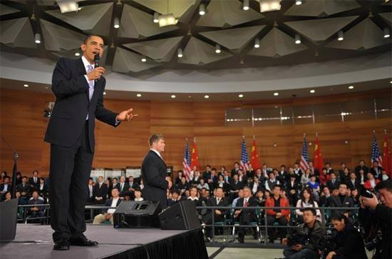 Tổng thống Mỹ Barack Obama tại cuộc gặp mặt với sinh viên Thượng Hải, diễn ra vào ngày 16/11 - Ảnh: Getty Images.