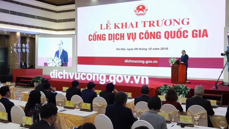 Chiều 9/12, lễ khai trương Cổng Dịch vụ công quốc gia đã diễn ra với sự tham dự của Thủ tướng Nguyễn Xuân Phúc - Ảnh: Quang Phúc