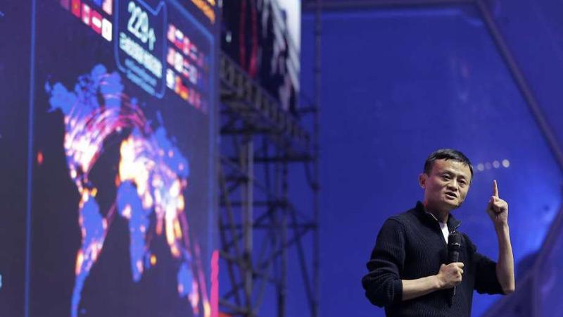 Chủ tịch Alibaba Jack Ma trong sự kiện mua sắm 11/11/2017.