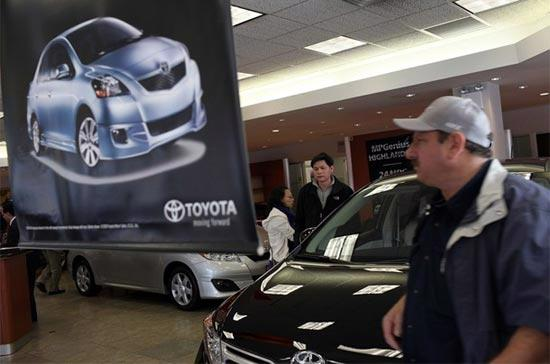 Tại một showroom của Toyota ở khu Brooklyn, New York - Ảnh: Getty Images.