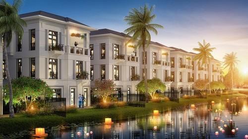Tiểu khu Hướng Dương gồm 78 biệt thự song lập, 30 biệt thự đơn lập và 10  căn nhà phố được kiến tạo nhất quán theo phong cách kiến trúc Đông  Dương.