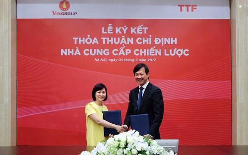 Việc ký hợp đồng này sẽ giúp hai bên tối ưu hóa hiệu quả sản xuất kinh doanh và mở ra các  định hướng hợp tác phát triển giữa Vingroup và TTF trong tương lai.
