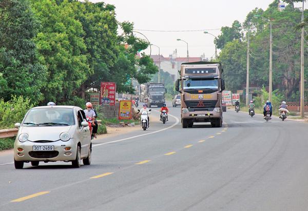Một đoạn Quốc lộ 1 qua Bắc Giang.