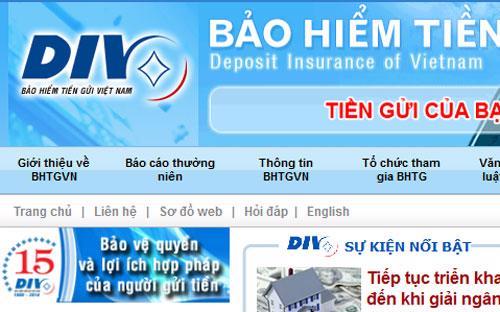 Một góc trang web của Bảo hiểm Tiền gửi Việt Nam.