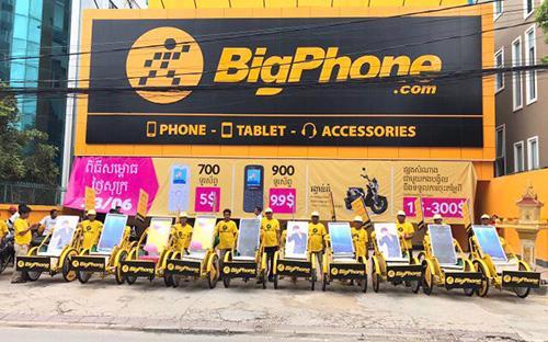 """<div><span style=""""font-family: &quot;Times New Roman&quot;; font-size: 14.6667px;"""">Siêu thị của Thế Giới Di Động tại Campuchia có tên là BigPhone tại địa chỉ số 8, đường Mao Tse Tung (245), có tổng diện tích hơn 400m2.&nbsp;</span></div>"""