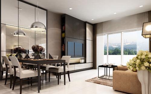 <div>Điểm khác biệt nhất tại dự án là mô hình căn hộ thông minh với hệ thống thiết bị điều khiển tự động và an ninh theo dõi từ xa được lắp đặt sẵn trong mỗi căn hộ. </div>