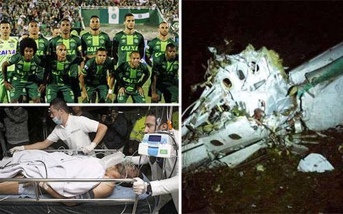 Chiếc máy bay bị rơi khi đang chở câu lạc bộ bóng đá Chapecoense từ miền  Nam Brazil tới thi đấu trong khuôn khổ vòng chung kết giải Copa  Sudamericana ở Columbia - Nguồn: EPA.<br>
