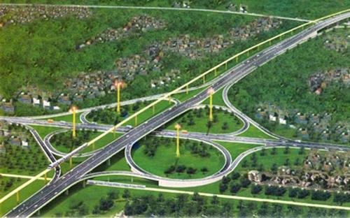 Mô hình một nút giao thông trên tuyến đường cao tốc Dầu Giây - Phan Thiết.<br>