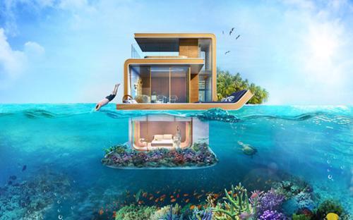 """Nằm trong chuỗi đảo nhân tạo """"The World"""" tại Dubai, dự án nhà nổi Seahorses có giá từ 2,8 tới 3,3 triệu USD/căn. <br>Mỗi căn nhà có thiết kế hai tầng, trong đó một tầng với phòng ngủ lớn nằm ở bên dưới mặt nước biển. Từ đó, chủ nhân có thể ngắm nhìn sinh vật biển ngay từ giường ngủ - Nguồn: Tech Insider.<br>"""
