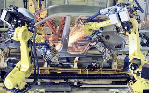 Dây chuyền sản xuất tại nhà máy Hyundai Thành Công, Ninh Bình.<br>