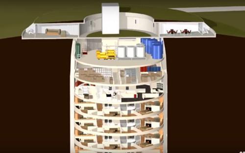 """Tọa lạc tại bang Kansas, Mỹ, Survival Condo là dự án hầm trú ẩn dành cho """"ngày tận thế"""", có khả năng chống được tấn công hạt nhân và có sức chứa lên tới 70 người. <br><br>Ở đây có đầy đủ tiện nghi và có giá lên tới 3 triệu USD/tầng. Dù giá cao nhưng chủ đầu tư cho biết đã bán hết các tầng hầm mở bán - Nguồn: CNBC, CNN.<br>"""