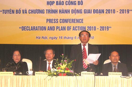 Họp báo của Nhóm đối thoại Việt - Mỹ về chất độc da cam/dioxin - Ảnh: Anh Quân.