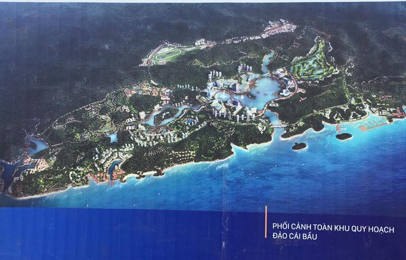 Phối cảnh toàn khu quy hoạch đảo Cái Bầu - nơi sẽ có khu nghỉ dưỡng giải trí cao cấp của đặc khu Vân Đồn.