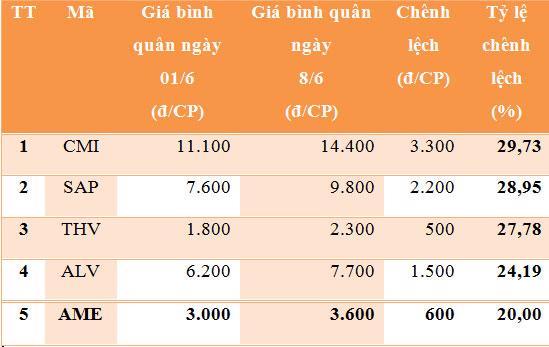 Những cổ phiếu tăng mạnh nhất trên HNX tuần từ 4-8/6/2012 - Nguồn: HNX, VnEconomy.
