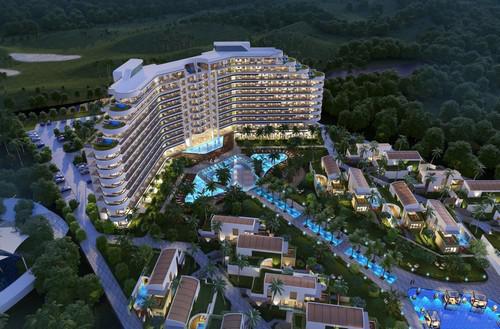Nằm ở mạn bắc resort The Grand, dự án Kahuna Hồ Tràm Strip cao 12 tầng có tổng cộng 244 phòng.