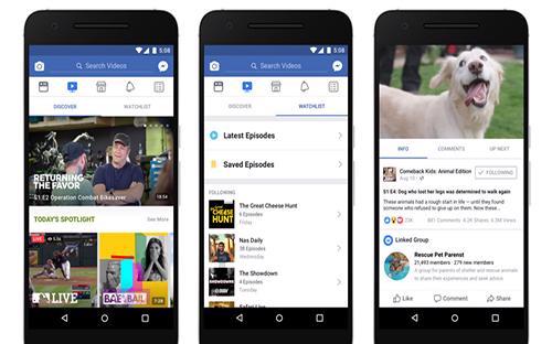 Giao diện Watch được đăng tải trên cổng thông tin Newsroom của Facebook.