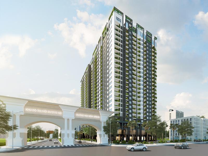 Nằm ở vị đẹp nhất, cửa ngõ Khu đô thị Dương Nội, Anland hiện đã xây xong 12 tầng và sẽ cất nóc tầng 25 vào tháng 7/2017.