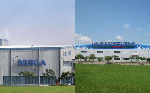 Nhà máy sản xuất của Nokia và Samsung tại tỉnh Bắc Ninh.<br>