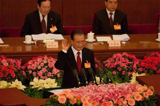 Thủ tướng Trung Quốc Ôn Gia Bảo tại kỳ họp thứ ba Quốc hội Trung Quốc khóa XI, diễn ra ở thủ đô Bắc Kinh từ ngày 5-14/3 - Ảnh: Getty Images.